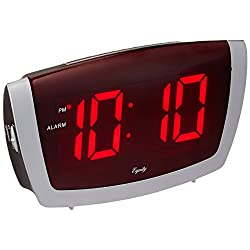 Equity by La Crosse 75906 LED Alarm Clock with High/Low Dimmer, 1.8, Red