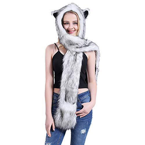 Faux Fur Animal Hoods With Attached Paws (Animal Hat Hood Scarf with Paws Mittens Gloves Attached for Adults Kids Winter-Gray)