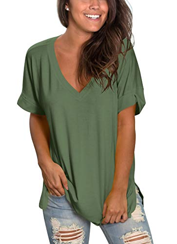 - SAMPEEL Womens Tops Blouses Short Sleeve Shirts Casual Tunics Leggings Green L