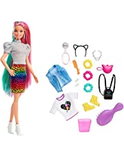 Barbie GRN81 - Luipaard Regenbooghaar Pop (blond) met kleurveranderend effect, 16 accessoires, vanaf 3 jaar
