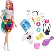 Barbie Leopard Rainbow Hair Doll (Blonde) with Color-Change Hair Feature, 16 Hair & Fashion Play Accessori