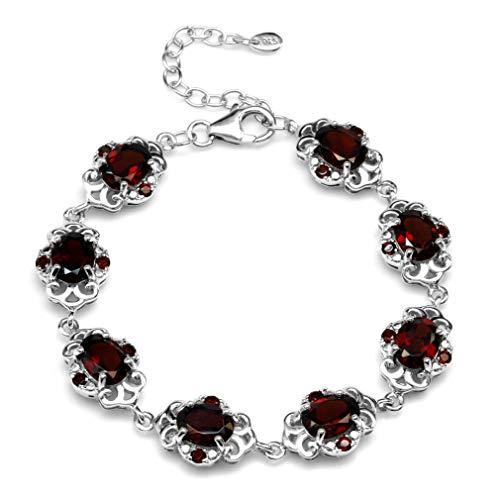- 13.2ct. Natural Garnet White Gold Plated 925 Sterling Silver Filigree 6.5-8 Inch Adjustable Bracelet