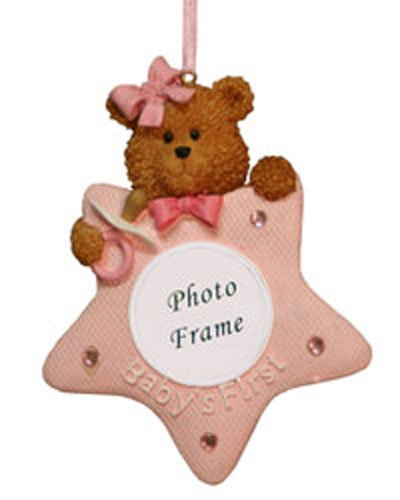 Girls Babys First Christmas Tree Ornament with Picture Frame [7091427GIRL] (Ornament Northstar)