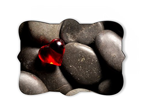 Rikki Knight Red Glass Heart on Pebbles Design Ornate Decorative Rectangular Shaped Fridge Magnet