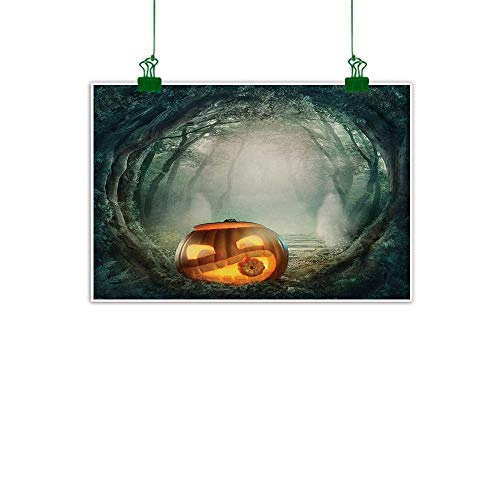 Unpremoon Halloween,Canvas Wall Art Drawing of Scary Halloween Pumpkin Enchanted Forest Mystic Twilight Party Art Wall Hanging Decoration Orange Teal W 40
