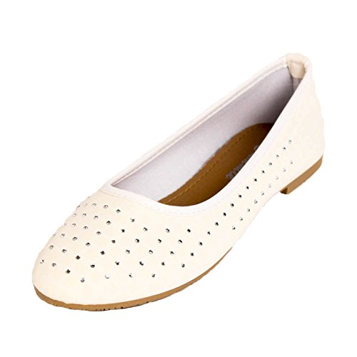 Cammie Womens Jewel and Stud Embellished Ballet Flats Stud White kqAZ3Wv