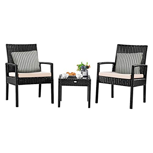 Tangkula 3 Piece Patio Furniture Set, Outdoor Wicker Rattan Conversation Set, 2 Cushioned Chairs & End Table, Backyard Garden Lawn Chat Set, Chill Time Modern Outdoor Furniture (Hawaiian Patio Furniture)