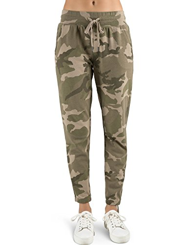 Rebel Canyon Young Women's Vintage Wash French Terry Lace Up Jogger Sweatpant X-Small Camo