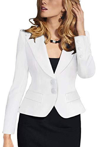 Autunno Business Di Corto Bianca Slim Puro Da Donna Bavero Mode Tailleur Giacca Giubotto Marca Suit Cappotto Manica Moda Fit Colore Lunga Button Leisure vqpwt0w