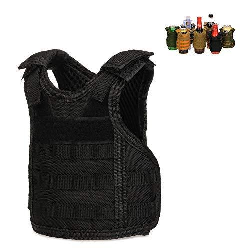 DSMY Tactical Vest Layer Military Beer Bottle Set Mini Molle Vest Hunting Bottle Drink Set Adjustable Shoulder Straps