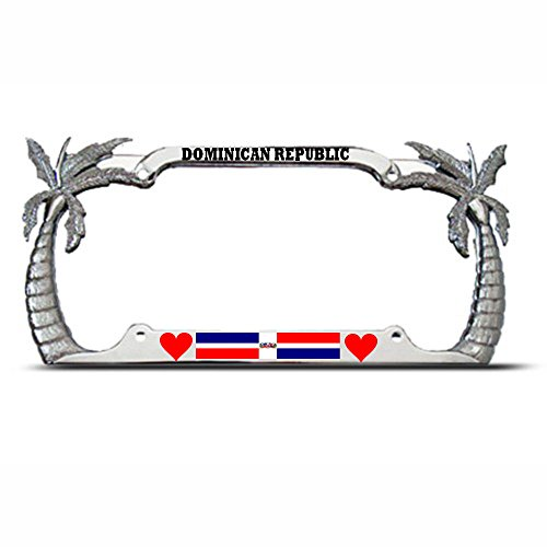 (Moon Love Dominican Republic Palm Tree Tropical License Plate Frame Auto Tag Border Perfect for Men Women Car garadge Decor)