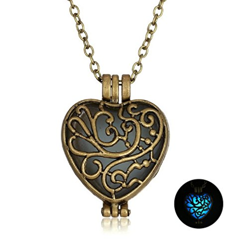 [Vintage Heart Glow In The Dark Magic Fairy Necklace For Girl Best Friend Necklaces N302-1] (Mermaid Fairy Costumes)