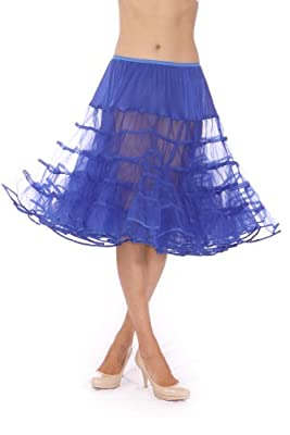 Malco Modes Meghan Knee Length Net Crinoline for Stiff Structured Support under Vintage Clothing and Rockabilly Wear