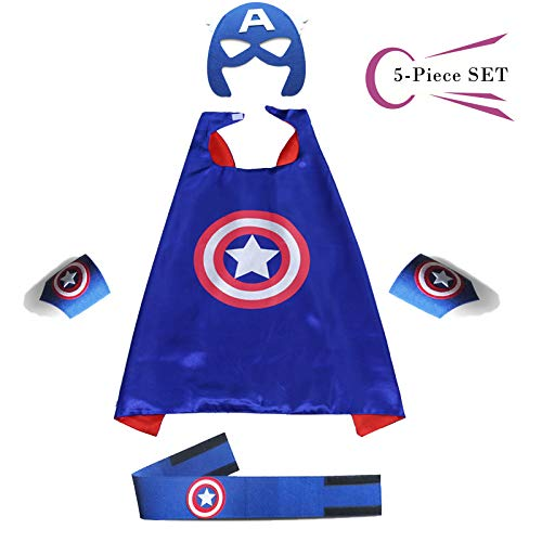 Superhero Dress Capes Set for Kids - Child DIY Superhero Themed Birthday Halloween Party Dress up 5-Pack Set (Captain America) -