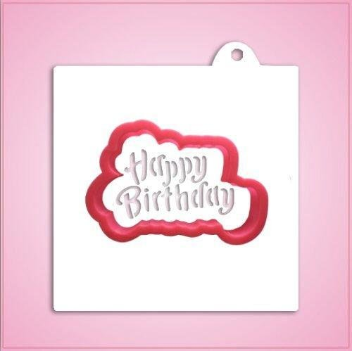 Happy Birthday Cookie Cutter with Stencil-One Piece ()