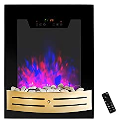 """AKDY® 19"""" Tempered Glass 1500W Wall Mount Touch Screen Timer 2 Setting LED Stone Rock Bedroom Electric Fireplace Heater w/ Remote from AKDY"""