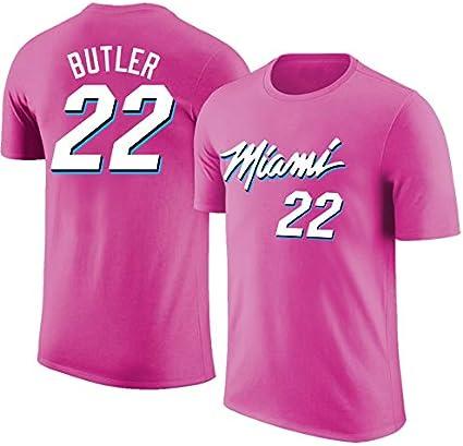 LSJ-ZZ Deportes Camiseta de los Hombres de la NBA Miami Heat # 22 de Butler Retro Casual de Manga Corta Floja y Transpirable Equipo de Baloncesto Jersey Cuello,A,S:160~165cm