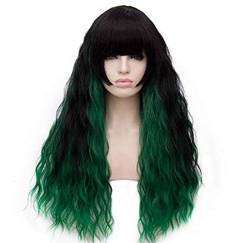 BERON 27'' Women Girls Lovely Synthetic Mix Color Long Curly Wigs Pin Curls with Neat Bangs Hairnet Included (Black/Green)
