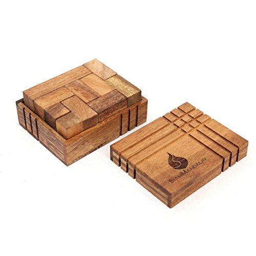 Challenge Box: Handmade & Organic 3D Brain Teaser Wooden Puzzle for Adults from SiamMandalay with SM Gift Box(Pictured) ()