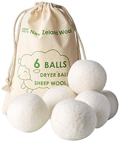 Fabric Softener Wool Dryer Balls (XL 6 Pack) New Zealand Wools by Viable Styles - Hypoallergenic Baby Safe & Unscented Organic Laundry Balls