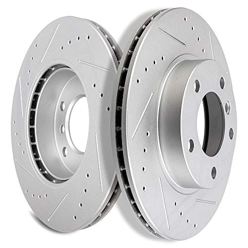 SCITOO Brakes Rotors 2pcs Front Drilled Slotted Discs Brake Rotors Brakes Kit fit BMW 318i/318is/318ti/323Ci/323i/323is/325i,1996-1998 BMW 328i,1996-2002 BMW Z3,2003-2005 BMW Z4