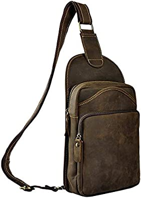 Mens retro cool multi-pocket large capacity 10 inch chest bag