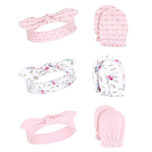 - Hudson Baby Baby Headband and Scratch Mitten Set, 6-Piece, boho, One Size