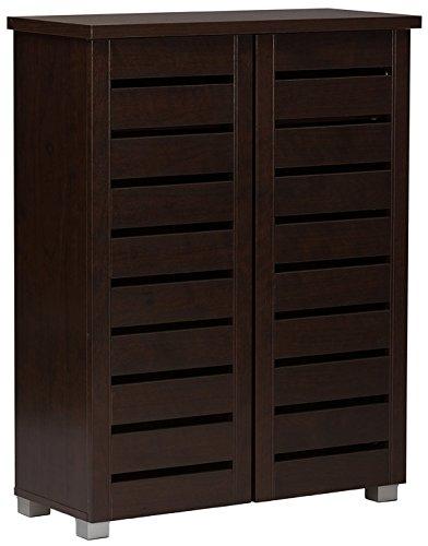 - Baxton Studio Wholesale Interiors Adalwin Modern and Contemporary 2-Door Dark Brown Wooden Entryway Shoes Storage Cabinet