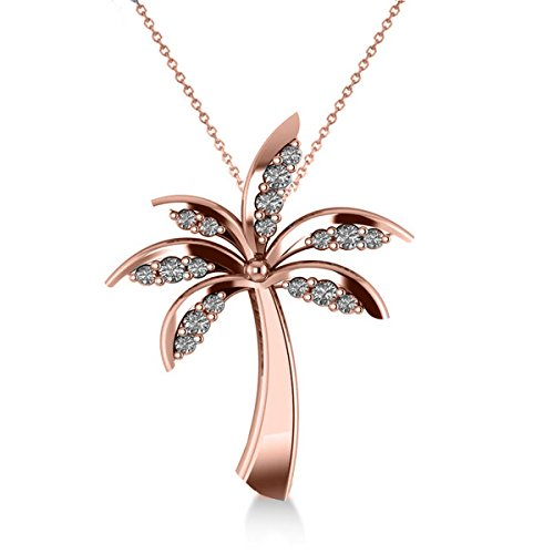 Allurez Diamond Tropical Summer Palm Tree Pendant Necklace in 14k Rose Gold (0.24ct) by Allurez
