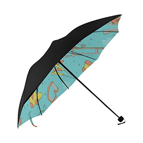 Umbrella Sled Toy Skiing Entertainment Underside Printing Compact Travel Sun Umbrella Parasol Anti Uv Foldable Umbrellas With 95% Uv Protection For Women Men Lady Girl