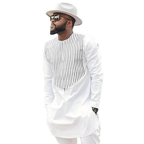 BSTXST Dashiki African Lines Printed Round Neck Long Sleeve Cuffs T-Shirt Long Men
