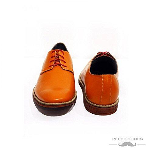 PeppeShoes Modello Tivoli - Handgemachtes Italienisch Leder Herren Orange Oxfords Abendschuhe Schnürhalbschuhe - Rindsleder Weiches Leder - Schnüren