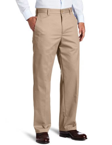 IZOD Men's American Chino Flat Front Straight-Fit Pant, English Khaki, 42W x 32L