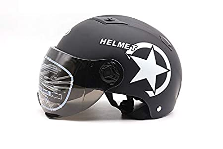 LanLan Casco da Motociclista a Mezza Taglia con Protezione Regolabile Nero Opaco