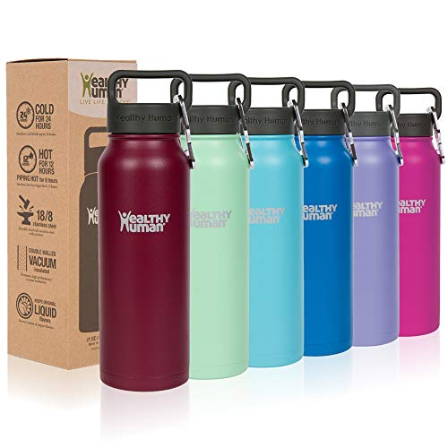 (Healthy Human Classic Collection Stainless Steel Vacuum Insulated Water Bottle | Keeps Cold 24 Hours, Hot 12 Hours | Double Walled Water Bottle | 32 oz Merlot)