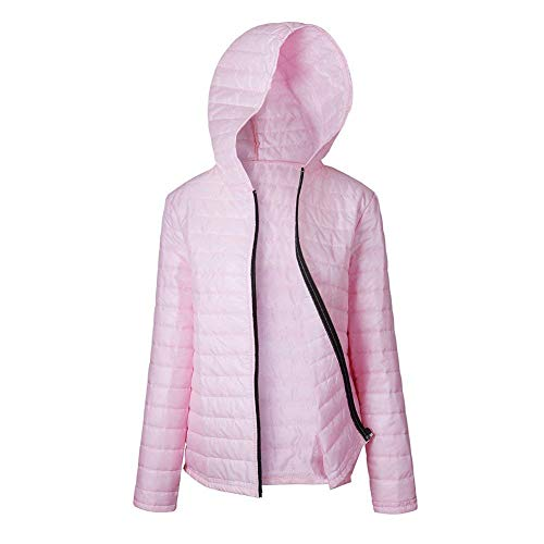 Unicolor Termica Manga Huixin Plumas con Larga Casual Cómodo Abrigos Invierno Ligeros Chaqueta con Capucha Outwear Mujer Modernas Pink Cremallera PPpgzr6WA