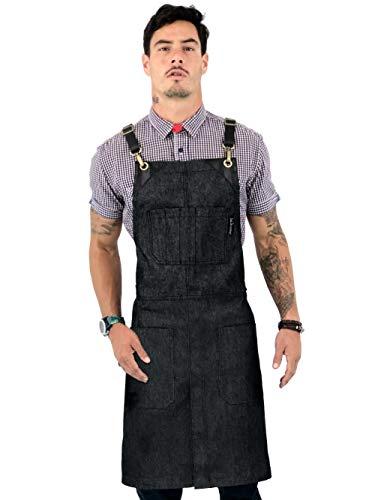 Under NY Sky Utility Apron - Leather Straps Crossback - Charcoal Blue Denim, Tool Pockets, Split-Leg - Adjustable for Men and Women - Pro Chef, Barista, Restaurant, Woodworker, Shop, Bartender, Maker