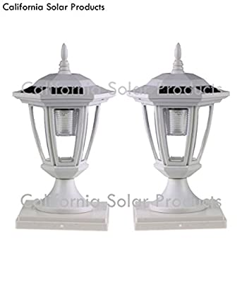 2-Pack WHITE Solar Hexagon Post Cap Lights with WHITE LEDS for 6X6 Fence Post - GREEN NATURAL SOLAR