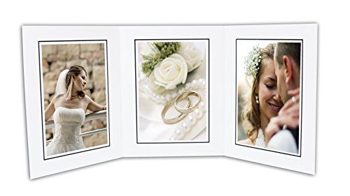 Golden State Art, Cardboard Photo Folder For 3 5x7 Photo (Pack of 50) GS005 White Color by Golden State Art