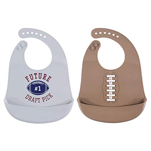 Hudson Baby Unisex Baby Silicone Bibs, Football, One Size