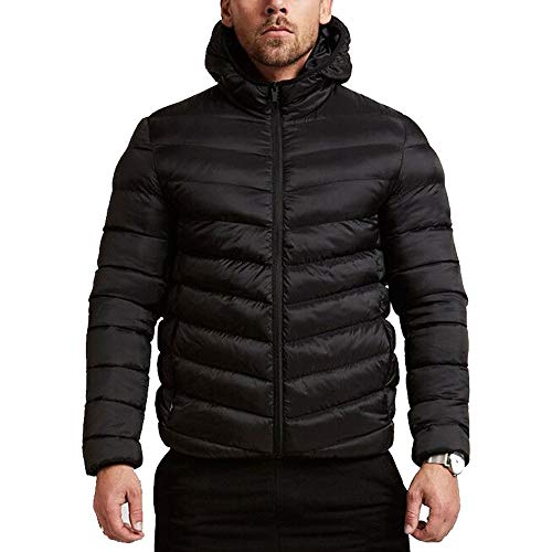 Balakie Mens Warm Hooded Thick Bubble Coat Solid Zip Pocket Down Jacket - Jacket Bubble