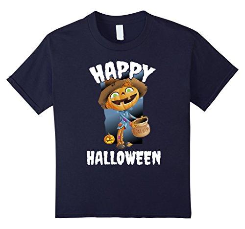Scarecrow With Pumpkin Head Costume (Kids Happy Halloween Pumpkin Head Scarecrow Lazy Costume T-Shirt 12 Navy)