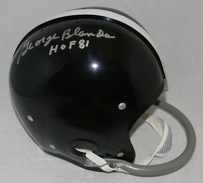 Throwback Helmet Rk (George Blanda Signed Autographed Oakland Raiders FS Throwback Rk Helmet COA)