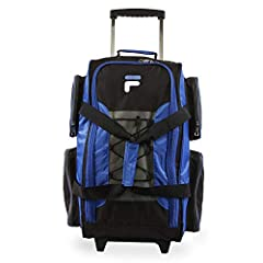 Rolling duffel constructed of durable dobby nylon includes a spacious, full zippered main compartment.
