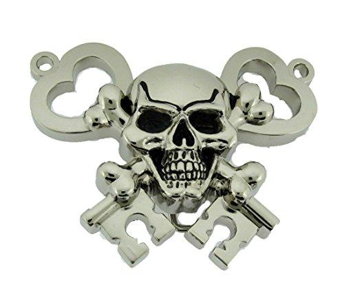 [Skull Belt Buckle Rock Rebel Skeleton Crossbones Keys Silver Metal Costume New] (Skull Buckle Metal)
