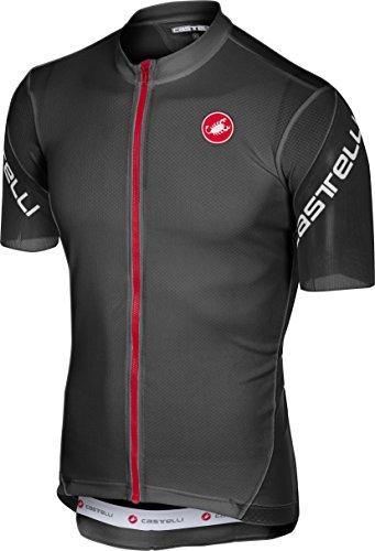 (Castelli Men's Entrata 3 Full Zip Bike Jersey (Light Black,)