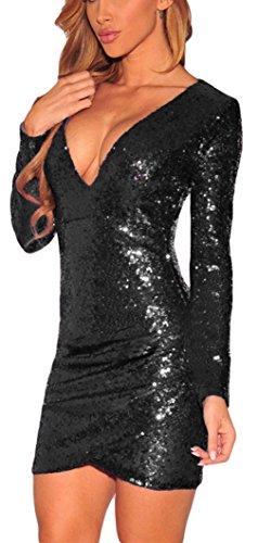 La vogue Damen Etui Minikleid mit Pailletten Stretch Cockteil-Abendkleider