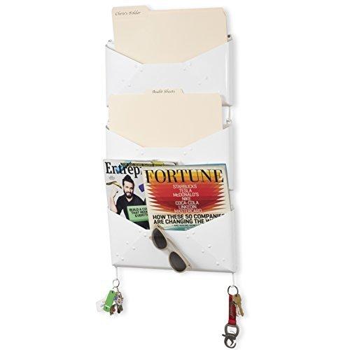 Wall File Holder Metal Vertical Hanging Organizer Multi Purpose Folder Mail Sorter Magazine Holder Office Storage Key Hooks Set of 3 (White) by Fasthomegoods