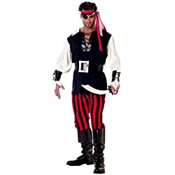 California Costumes Men's Adult-Cutthroat Pirate, Black/Red/White, XL (44-46) Costume