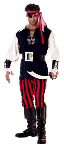 [California Costumes Men's Adult-Cutthroat Pirate, Black/Red/White, L (42-44) Costume] (Black Men Halloween Costume)